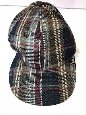 ad6e901bb2eb4 Rare Goorin Bros Mens Baseball Cap Flat Brim Embroidered Navy Plaid Hat Sz  S NWT