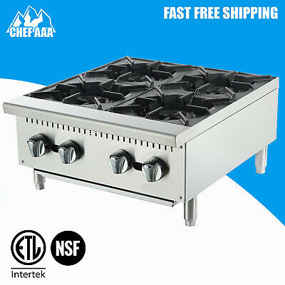 ETL-24″ Stainless Steel Four Burner Hotplate - Commercial Kitchen -