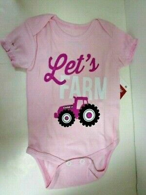 """Country Casuals Case IH Charcoal /""""Let/'s Farm/"""" Infant One Piece"""
