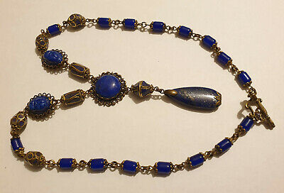 Vintage Art Deco Style Lapis Bead Egyptian Revival Scarab Pendant Necklace