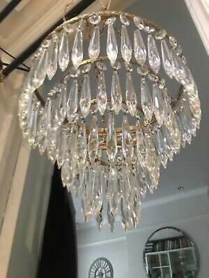 antique waterfall icicle crystal chandelier  non electric