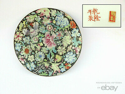 Antique Chinese Export Porcelain 1000 Flower Millefleur Plates Qing Dynasty