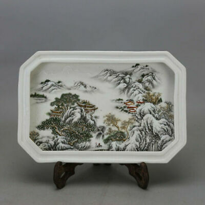 Chinese old hand-carved porcelain famille rose glaze landscape tea tray