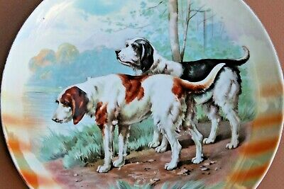 Rare Antique Vintage German Three Crown Spaniel Dogs Porcelain Plate