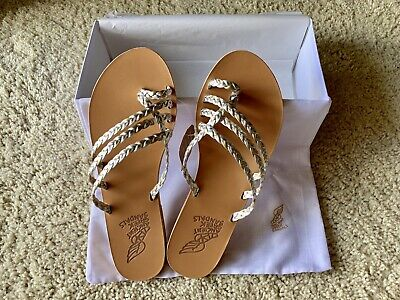 Ancient Greek Sandals Women's Gold/Silver Leather Amalia Slides (Size 39 US 9)