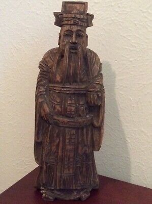 """Estate Antique Chinese Wood Carved Standing Man Figurine 12.5"""""""