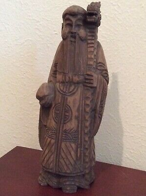"""Estate Antique Chinese Wood Carved Standing Man Dragon Cane Figurine 11.5"""""""