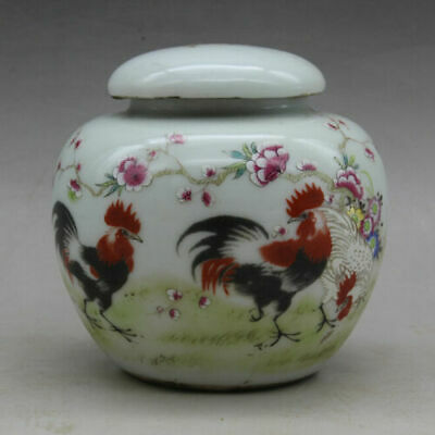 Chinese old hand-carved porcelain famille rose chicken pattern tea caddy