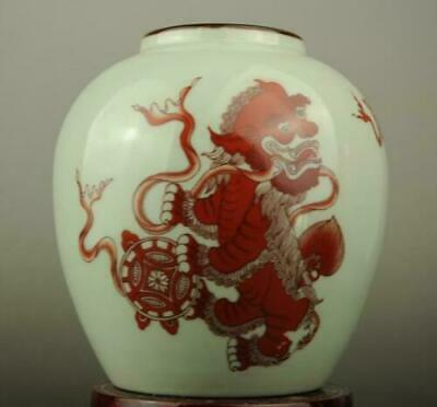 China old hand-made red glaze porcelain lion pattern teapot / Yongzheng mark