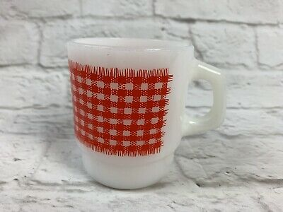 Vintage FIRE-KING COFFEE MUG Cup Red Gingham Stackable Milk Glass