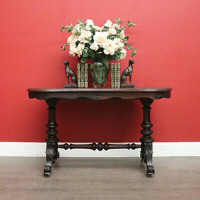 Antique Hall Table, Sofa, Entry, English, Rosewood, Brass Castors, Wine Table