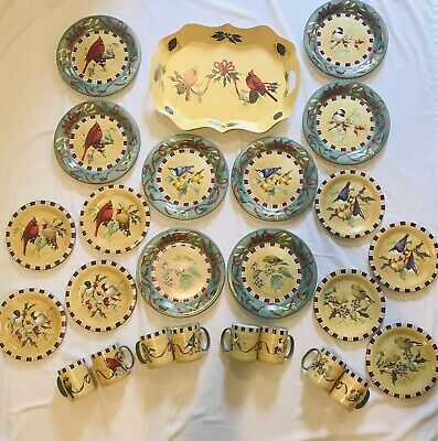 Lenox Winter Greetings Everyday-8 Dinner Plates/Salad Plates/Mugs/Tole Tray MINT