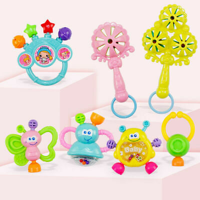 7Pcs Baby Toddler Shaking Bell Rattles Newborn Teether Kids Hand Music Toys