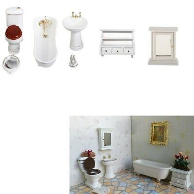 8 Ceramic Bathroom Furniture Set for 1/12 Dolls House Miniature Accessories