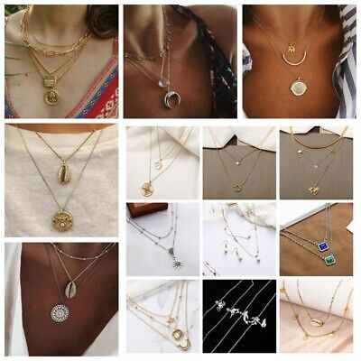 Multilayer Fashion Lady  Boho 205 Styles Charm Choker Necklace Chain Jewelry Set