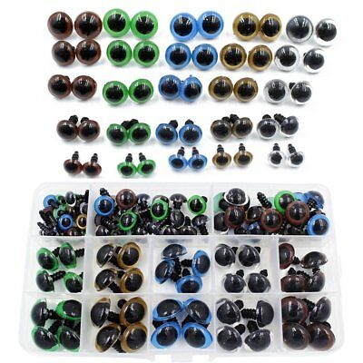 6~12mm 264PCS Safety Eyes Plastic with Washers for Doll Puppet Plush #AM8
