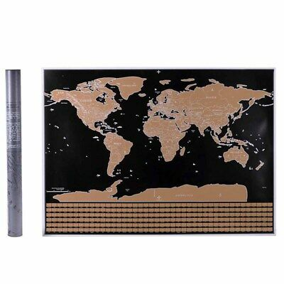 Scratch Off Map of the World Poster Wallpaper Personalized Travel Log Hot #JIU