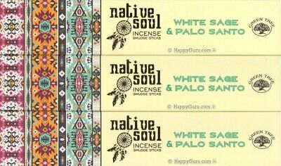 """White Sage & Palo Santo"" 3 Packets Green Tree Incense Smudge Sticks Native Soul"
