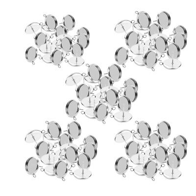 100 Pcs Stainless Steel Earring Blank Ear Post Cabochon Setting Tray 8-16mm