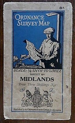 Ordnance Survey Map on Cloth,1932 Edition, Sheet No 8A, The Midlands