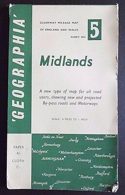 Geographia, 4 Miles to 1 Inch, Fold Up Paper Map,of The Midlands Sheet 5, 1960s