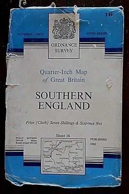 Ordnance Survey, Quarter Inch Map on Cloth,1962 Edition, Sheet No 16, Southern