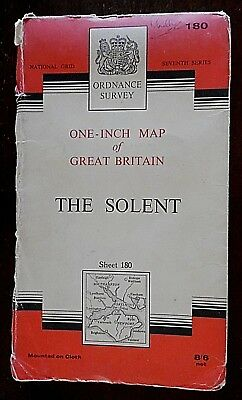 Ordnance Survey, 1 Inch Map on Cloth,1966 Edition, Sheet No 180, The Solent