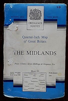 Ordnance Survey, Quarter Inch Map on Cloth,1962 Edition, Sheet No 13, The Midla
