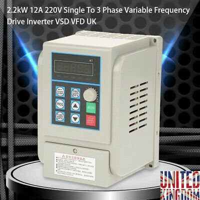 2.2KW 12A 220V Single To 3 Phase Variable Frequency Drive Inverter VSD VFD UK WH