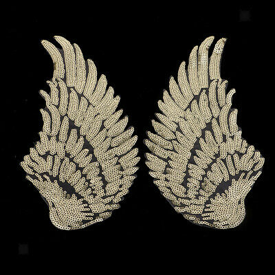 2Pcs Decorative Iron-On Embroidered Patch Angel Wings Applique Motif Sequins
