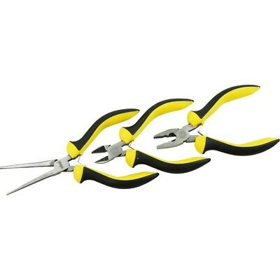 3 Piece Pliers Set With Soft Grips - Mini Rolson Pieces Needle Nose Combination