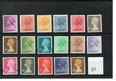 GB - Machin definitives  (38)  Decimal - selection to 28p -  unmounted mint