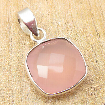 "925 Silver Plated Amazing Rose Quartz PINK Pendant 1.1"" ! Handmade Jewelry NEW"