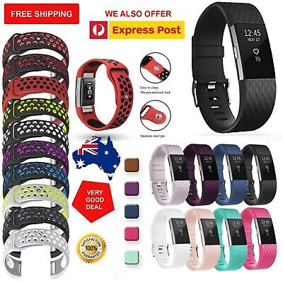 Genuine Diamond Silicone Watch Wrist Sports Band Strap For Fitbit Charge 2 AU