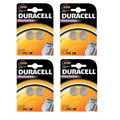 Duracell DL2016 Battery Lithium for Camera Calculator or Pager 3V ( 4 x 2 Packs)