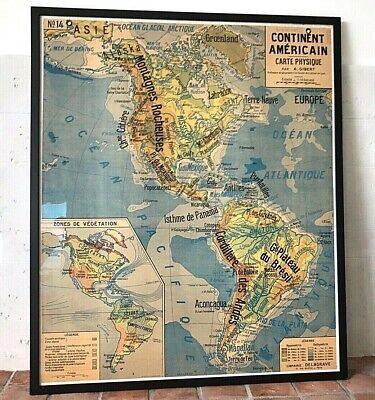 """⭕️ Vintage MID CENTURY French School Map by A. Gibert, No. 14, """"The Americas"""""""