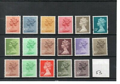 GB - Machin definitives  (53)  Decimal - selection to 20p -  unmounted mint