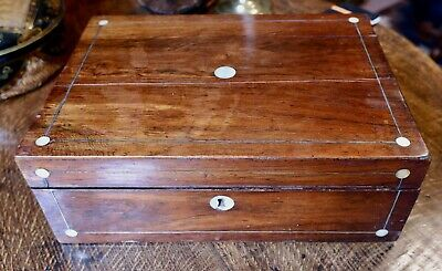 Lovely mid-Victorian rosewood writing box / slope with MOP inlay