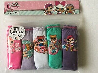 Lol Surprise 5 Pack Girls Briefs Pink Purple White Green Lilac 9-10 Years