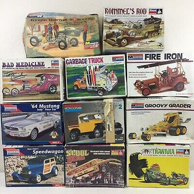 LOT 11 Model Car Building Kits Monogram Junkyard Parts Bodies Varied Kits