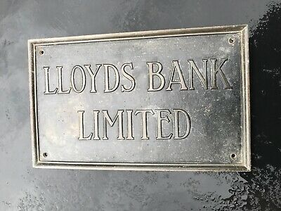1920'S Heavy Vintage Lloyds Bank Solid Bronze Wall Sign/Plaque Large
