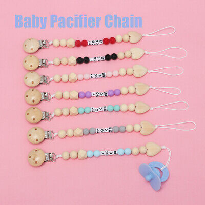 Teether Newborn Feeding Baby Pacifier Chain Nipple Soother Holder Dummy Clips