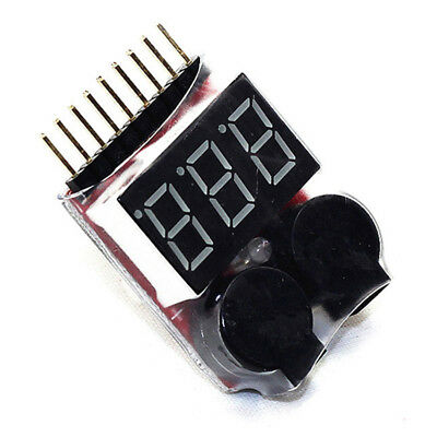 Buzzer 1 8S Lipo Alarm Warner Schutz·Checker Voltage Buzzer Pieper LED Anze F0B7