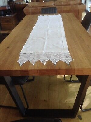 Vintage Snowy White Irish Linen Runner Table Runner