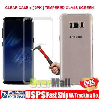 Clear Case and 2PK Screen Protectors for Samsung Galaxy S9 S8 Plus Note 8 9
