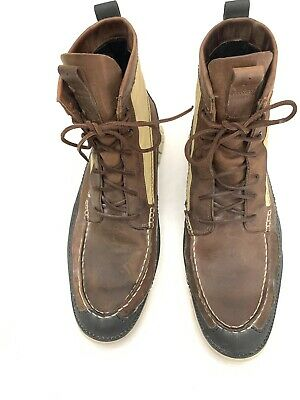 Cole Haan Zerogrand Tall Leather/canvas Hiker Boots Black/Brown Tan Men's 13 M