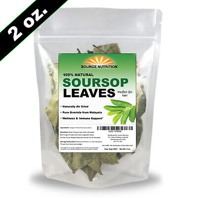 Organic Dried Soursop Leaves by Source Nutrition - Pure Graviola for Tea, Whole