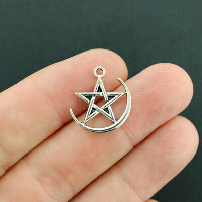 SC4168 10 Pentagram Charms Antique Silver Tone 2 Sided