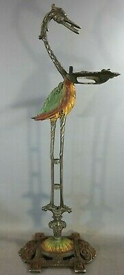 Antique ART DECO POLY-CHROME Painted CRANE Egret BIRD Cast Iron SMOKING STAND