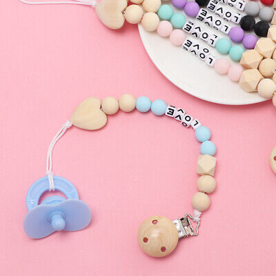 Wooden Newborn Feeding Baby Pacifier Chain Dummy Clips Nipple Soother Holder